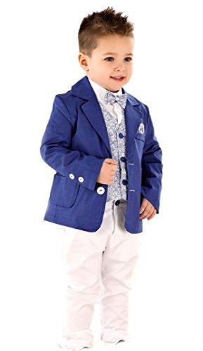 LULINA Abito da Battesimo Elegante Color Blu Bianco Vestito da Cerimonia 5pz.