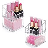 ShopAIS 2in 1 Clear Acrylic Makeup & Lipstick Organizer, Cosmetic Brush Holder, Beauty Display Container Swab Storage Case Co