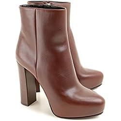 Prada Pumps Ankle-boots aus braunem Kalbsleder - Modellnummer: 1TP203 7V6 F0562 - Größe: 40 EU