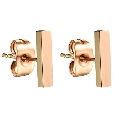 MYA art Premium Damen Titan Ohrringe Stab Ohrstecker Stecker mit Stäbchen Geometrische Formen Rosegold Vergoldet Rose Gold 10mm MYARGOHR-61