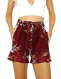 22074b8db53ef0 Hosen Damen Kolylong® Frauen Sommer gedruckt hohe Taille kurze Hosen Hot  Pants lose Strand Shorts