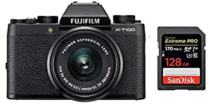 Fujifilm X Series X-T100 24.2MP Mirrorless Camera (Black) with XC15-45mm Lens Kit + SanDisk 128GB Extreme Pro SDXC UHS-I Card - C10, U3, V30, 4K UHD, SD Card