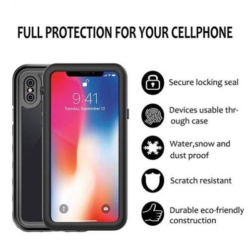 iPhone X/XS Hülle mit integriertem Displayschutz, wasserdicht, stoßfest, 360 Grad drehbar, ultradünn, Rot/Schwarz