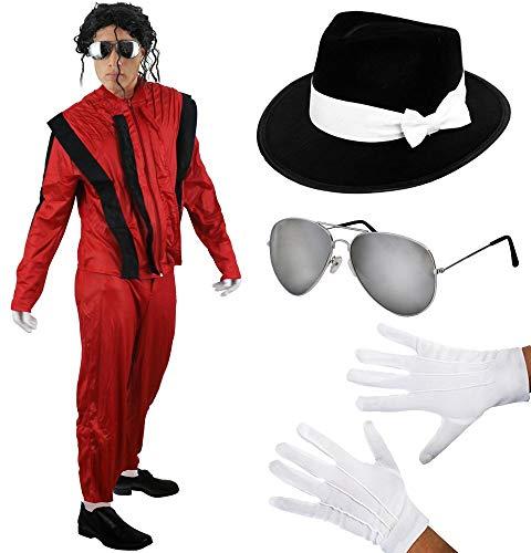 King 80iger M.J.KOSTÜM Variation VERKLEIDUNG Musik Themen Halloween Fasching Karneval=MIT+OHNE PERÜCKE=2 Verschiedene Brillen=SMALL+SILBERNER Aviator Brille-OHNE PERÜCKE ()