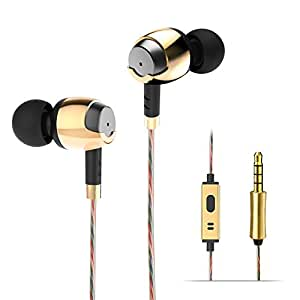 Auricolari In Ear, Wieppo Metal Cuffie con Cavo Stereo Universale con Microfono, conduttore dinamico da 10mm con un Cavo da 150cm, Riduzione del Rumore, Bassi Rafforzati, 3.5mm per Cellulari (D'oro)