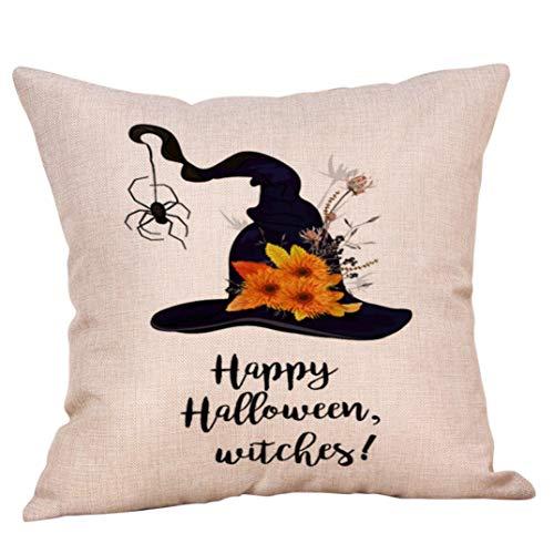 TianranRT Halloween Kissenbezug 45 * 45 Bettwäsche Sofa Kürbis Geister Kissen Cover Haus Dekor (D)