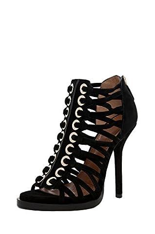 Onlymaker Women's High Heel Open Toe Zip Sandals Black UK11