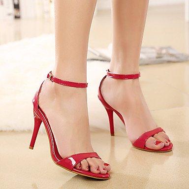 LvYuan Da donna-Sandali-Matrimonio Formale Serata e festa-Comoda Cinturino alla caviglia Club Shoes-A stiletto-PU (Poliuretano)-Rosso Argento Silver