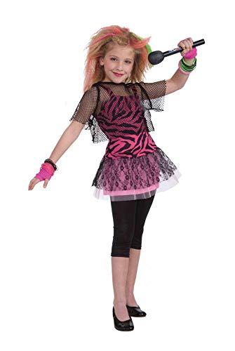 shoperama Punk Star 80er Jahre Mädchen Kostüm Kinder Kinderkostüm Rockerin Rocker Madonna, Größe:S - 4 bis 6 Jahre