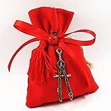 Bomboniere laurea sacchetti rossi con pendente ciondolo compasso (Bomboniera con nappa)