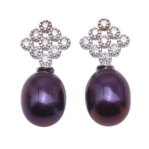JYX Sterling Silber 9 × 11.5mm Schwarz Oval Süßwasser perlen Ohrring Frauen perlen ohrstecker schwarz