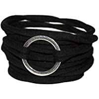 Endlosarmband zum Wickeln in schwarz mit silberfarbenem Ring - onesize