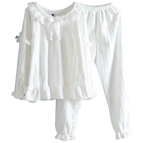 LLRCAZR Pyjamas Pyjamas Herbst Winter Flanell Lace Lace süße Prinzessin Coral Velvet Home Suit, weiß, XL Lace Velvet Romper