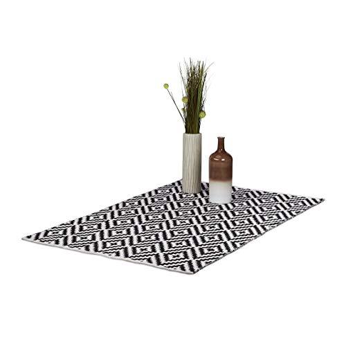 Relaxdays Teppich Baumwolle, Läufer Rutschfest, Teppichläufer Flur, gewebt, Wohnzimmerteppich 120x180 cm, schwarz weiß -