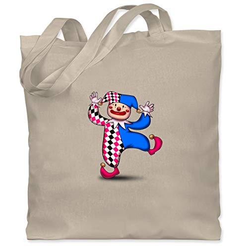 Komiker Der Kostüm Zubehör - Shirtracer Anlässe Kinder - Tanzender Clown - Unisize - Naturweiß - WM101 - Stoffbeutel aus Baumwolle Jutebeutel lange Henkel