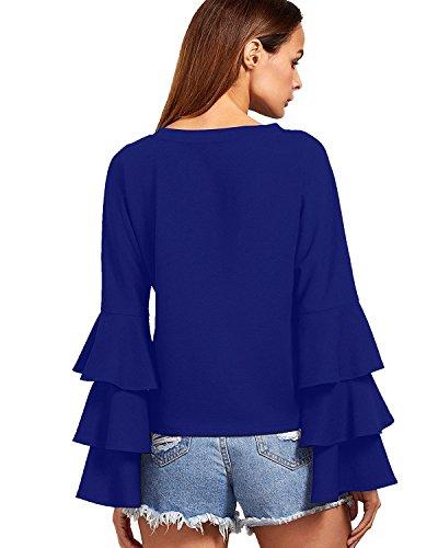 StyleDome Damen Lotus Hülse Lange Ärmel Crew Neck Maxi Tops Shirts Blau
