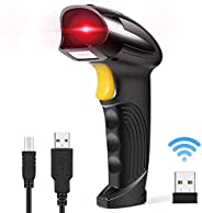 Goodstuffshop Wireless Barcode Scanner 2-in-1 2.4GHz Wireless & USB 2.0 Wired USB Automatic Barcode Reader