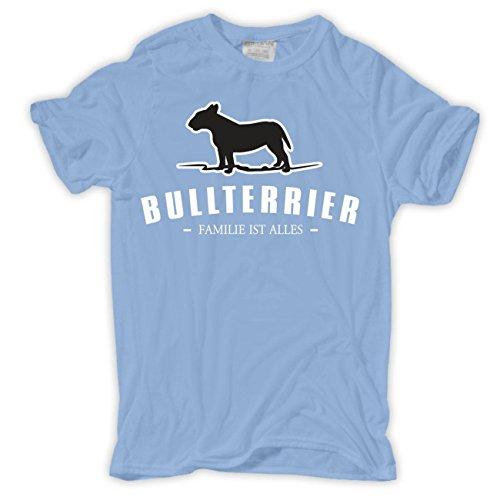 Spaß kostet Männer und Herren T-Shirt Bullterrier - Familie ist Alles Hellblau