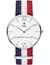 Reloj TWIG Haring Plata/Blanco Navy-Blanco-Rojo vintage minimalist