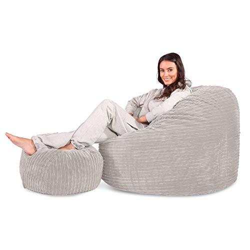 Lounge Pug®, Riesen Sitzsack C500-L, CloudSac Latexflocken-Mischung, Relaxsessel, Cord Creme