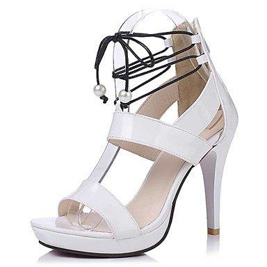 Sandali Primavera Estate Autunno Comfort in pelle di brevetto Party & abito da sera Casual Stiletto Heel Zipper Bianco Nero White