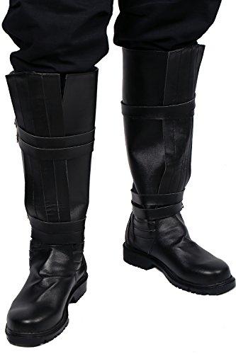Herren Updated Version Cosplay Schwarz PU Riding Stiefel Halloween Verrücktes Kleid Erwachsene (Stiefeln Ren)