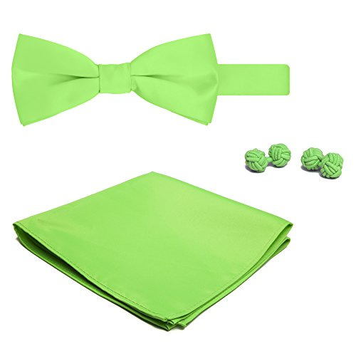Jacob Alexander Solid Color Men's Bowtie Hanky and Cufflink Set - Lime Green (Button-down-tuxedo)