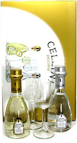Le Cellini piccoline Geschenkpackung Grappa Cellini Oro 0,2l und Grappa Cellini Bianca 0,2l incl. 2 Gläser