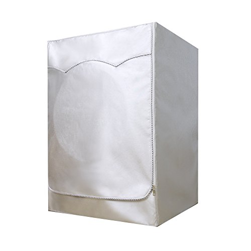 Revêtement Argenté Tissu Oxford Housse de protection pour machine à laver Full-automatic Rouleau étanche Sun-resistant Housse anti-poussière, Tissu Oxford, L: 51-75 cm