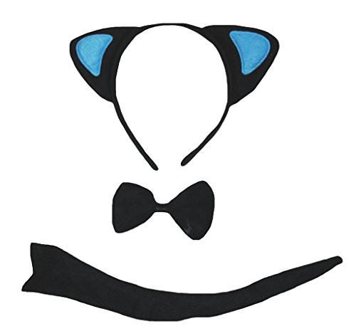 Petitebelle Black Blue Cat Headband Bowtie Tail 3pc Costume for Children (One ()