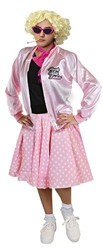 DELUXE = ROSA RETRO MUSIKAL KOSTÜM SET = 1950S/1960S STIL = ROSA ROCK&ROLL JACKE + ROSA POLKA DOT ROCK MIT WEISSEN PUNKTEN + WEISSEN KURZEN SOCKEN + ROSA SPITZEN SCHLEIFE (Size Buddy Plus Kostüm Holly)