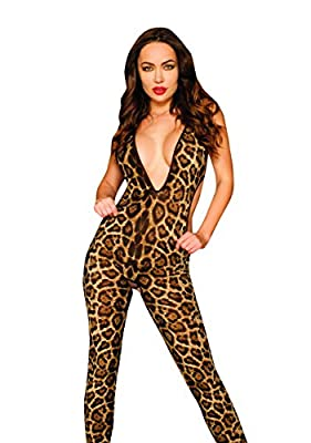 Elawin Women Leopard Cat Suit Fantasy Costume High Quality Sexy Lingerie