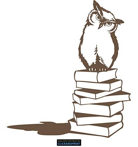 CLICKANDPRINT  Aufkleber » Eule auf Büchern, 120x108,2cm, Bronze Antik Metallic • Dekoaufkleber/Autoaufkleber/Sticker/Decal/Vinyl -