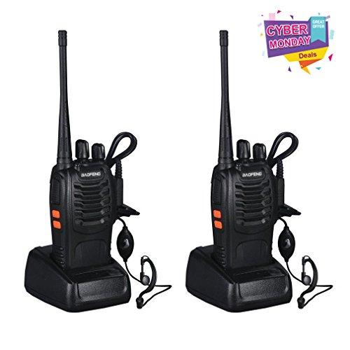 Baofeng funkgerät ,Walkie-talkie 16 Kanäle Funksprechgerät Dual band Zweiwege CTCSS 400-470MHz (1 paar,Schwarz)