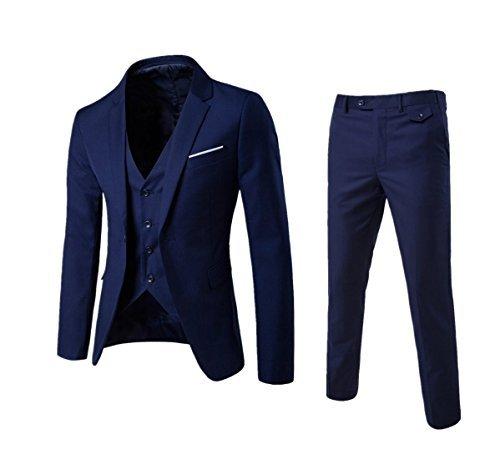 LL L & L Herren smart Passform 3 Teile Anzug Blazer Jacke Smoking Weste Warnweste & Hosen Hochzeit Ball Event Geschenk UK - Marine, X-Small (3-knopf-blazer-jacke)