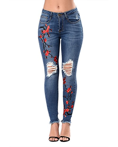 Vaqueros Skinny Push-Up Pantalones Elástico Jeans Bordados Vaqueros Para Mujer Azul Marino S