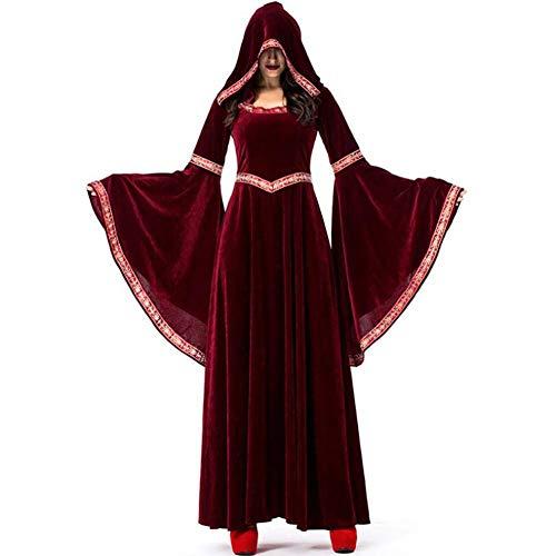 ASDF Halloween Weinrot Vampir Zauberer Kostüm Court Dress Up (Lady Of The Court Kostüm)