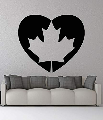 zhuziji Canada Flag Heart Shape Wall Decal Patriotic Emblem Vinyl Wall Decor Home Silhouette Stickers for Kids Room Living Room 57x57cm