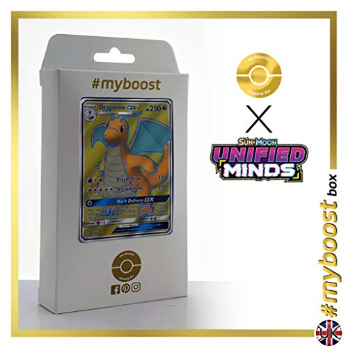 Dragonite-GX 229/236 Full Art - #myboost X Sun & Moon 11 Unified Minds - Box de 10 cartas Pokémon Inglesas
