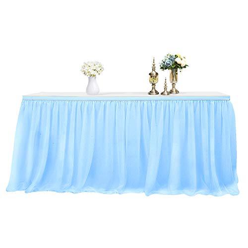 MineSha Handmade 2 Yards 3 Schichten Mesh Fluffy Tutu Tüll Tisch Rock für Party, Hochzeit, Geburtstagsfeier, Baby Dusche Dekoration (L 9Fuß * H 30 inch, Blau)