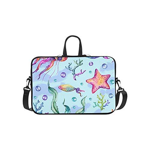 Laptop Umhängetasche Umhängetasche Tasche Notebook Griff Ärmel Neopren Soft Carring Tablet Reisetasche, Marine Muster S Quallen Wasserpflanzen Laptop Handtaschen 14