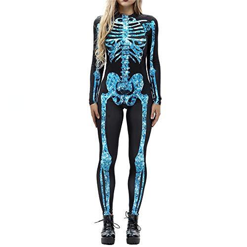 Frauen Halloween Print Catsuit Langarm Overall 3D Skeleton -