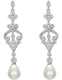 TENYE Women's 925 Sterling Silver Cream Freshwater Cultured Pearl Button Stud Earrings