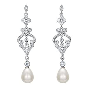 EVER FAITH 925 Sterling Silver Zircon Cream Freshwater Cultured Pearl Art Deco Heart Chandelier Dangle Earrings qECsNjGFFy