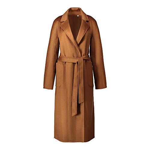 Jsix Damen Cashmere Kaschmir Mantel Wolle Coat Double-Sided Wolle & Kaschmir Wollmantel Damenmantel with Belt (M, Caramel) -