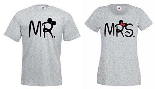 TRVPPY 2x Couple Partenaire T-Shirt's/Modèle MR. & MRS. Mickey Mini/pour Homme & Femme/Couleur Noir/Taille Homme L + Femme M