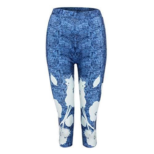 Lazzboy Weisefrauen Taillen-spitze Plus Größen Yoga Sport Reizvolle Hosen Gamaschen Leggings Damen Hohe Taille Sporthose Muster Trainingshose Fitnesshose Tummy Laufen Workout(Blau,3XL)