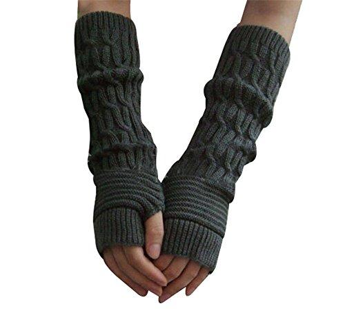 reine à la mode- Gants Tresse Tricote Oversleeve Main Bras Plus Chaud Mitaine Sans Doigts (Gris foncé)