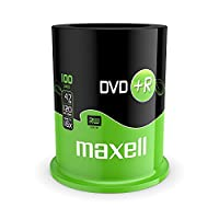 Maxell DVD+R 4.7 GB 16 X 120 Min Video - Matt Silver (100 Disk - Spindle)