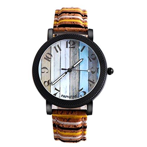 OdeJoy Herren Damen QuarzUhr Musteruhr Damenuhren Mädchen Armbanduhr Unisex Leder BandAnalog LegierungUhren Vintage Armbanduhren Sport Uhren Fashion Smart Watch(MulticolorD,1 PC)